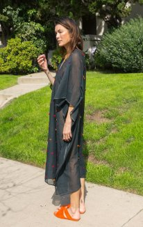 Black Caftan with Pom Pom